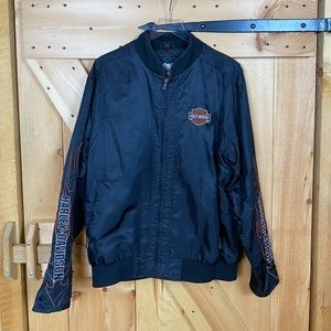 harley davidson | black nylon embroidered jacket
